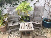 Wooden garden chairs.