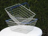 2x metal wire retail shopping baskets, two handles per basket