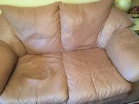 Leather 2 seater clover pink settee
