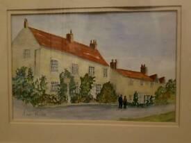 Cottagrs Hovingham Artists water colour hand signed