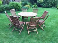 Teak folding garden table & chairs set x 8