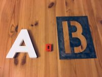 A' & 'B' letters, stencil, ornaments