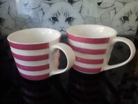 TWO Lovely Pink and White Stripey Mugs Super Clean