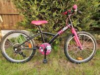 "Decathlon B-twin Misti Girl 320 girl's 20"" bike black and pink"