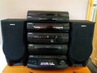 Sony XB3 compact HiFi 5 CD changer, twin tape deck, AM/FM tuner, turntable