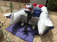 Inflatable boat / dinghy, Mariner outboard engine, 4hp 4 stroke short shaft