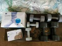 Dumbbells, ankle weights & core ball