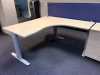 30 - CORNER DESKS IN MAPLE - 1600MM X 1600MM X 800 MM X 600MM - PEDESTALS ALSO AVAILABLE - VG COND