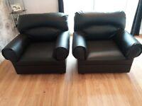Black sofa & 2 chairs