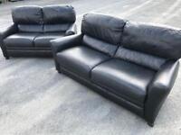 Luxury Reid's black full leather ~ 3 & 2 ~ sofas Suite