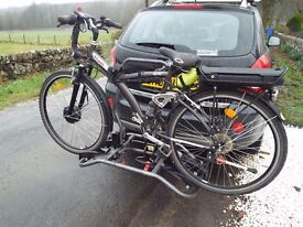 Bike rack, tow ball mountable and tilts so suitable for hatch back cars for two bikes.
