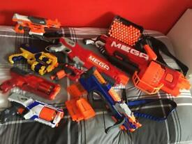 Collection of 8 Nerf guns with bullets - includes Mega Mastodon
