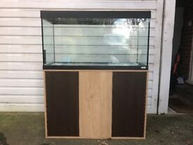 Fluvial Roma 200 Aquarium including two-tone based cabinet, filter, heater and lights.