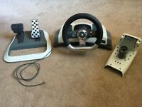 XBOX 360 Steering Wheel And Pedals + Table Mount