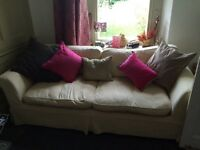 Three seater cream corduroy sofa, comfy & clean!