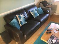 4 seater leather sofa & armchair