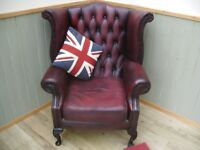 Stunning Oxblood Leather Chesterfield Queen Anne Chair