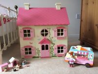 Dolls house complete with furniture, Le Toy Van family, pets & Ice cream van & lady Elc Rosebud