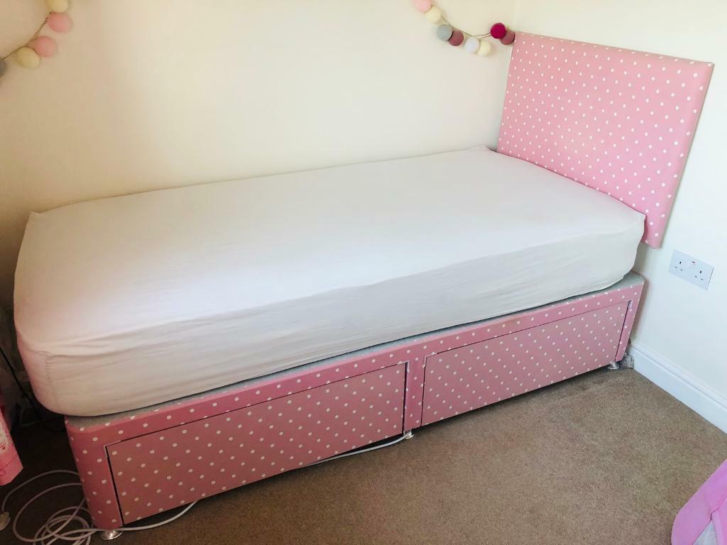 newest fa36c 0962d Little Lucy Willow Single bed Divan & mattress, pink polka dot, excellent  condition! | in Church Gresley, Derbyshire | Gumtree