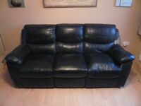 3-seater double recliner leather sofa