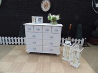 CORONA PINE MULTI DRAWERS CHEST PAINTED WITH LAURA ASHLEY PALE DOVE GREY VERY SOLID UNIT
