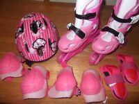 Girls roller skates and protection set