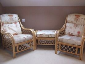 Two Cane Armchairs and matching footstool