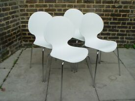 FREE DELIVERY Four Keeler White Stacking Chairs