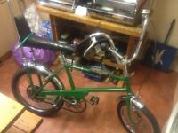 old 1970s hi riser 3speed bicycle simular to a raleigh chopper