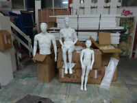 Display mannequins, male, female, adult and child.