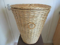 Wicker Laundry Basket and Silver Coloured Pedal Bin