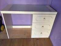 White Dressing Table With Glass Top