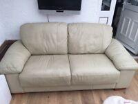 Cream Leather Tripple Sofa
