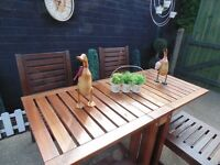 SOLID WOOD DROP LEAF GARDEN TABLE WITH 4 SOLID WOOD CHAIRS