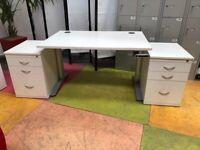 Height adjustable Sven Christiansen Sit & Stand Desk/Two 3 Drawer Pedestal
