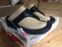 Brand New Fitflop Sandals Shoes Size 4 Navy Leather RRP £60