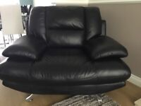 Black Leather Sette and Chair for sale