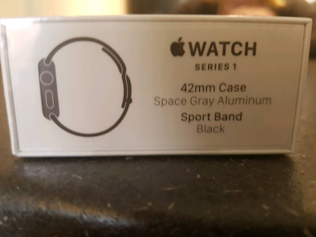 Apple watch series 1, 42mm, space grey, black sports band, never used.