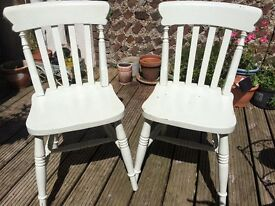 2 painted dining chairs