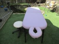 light weight mobile massage couch including stool, and head piece, comfort cushions