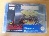SNES Super Nintendo Populous with manual & protective sleeve