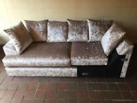 Brand New Champagne Crushed Velvet Sofa Section and 6x scatter back cushions