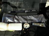 Remington curling wand, pouch, lip balm, cream, body buff