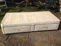USED SINGLE BED DIVAN BASE WITH DRAWERS FIRE RESISTANT