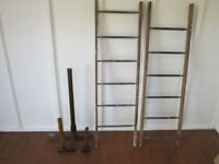 Vintage tools - wooden ladders and hand tools ( pick axe / lump hammer / maul axe )