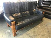 Blue real leather three piece suite 3 seater sofa and 2 armchairs second hand cheap bargain