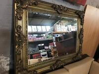 """Brand New Stunning large 46x34"""" Gold Swept Frame Bevelled Wall Hanging Mirror"""