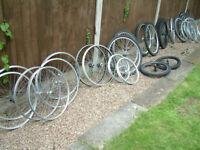 Bicycle Wheels 26 ins. 20 inch BMX and some 700, Mavic, Shimano, Weinmann, Alesa, etc.