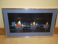 Framed Picture Hanging Wall Art - Three Ships at Sea