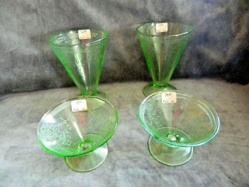 Vintage Depression Glass Green ROSE CAMEO Belmont 1931  - 4 PC LOT